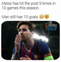 Football, Goals, and Memes: Messi has hit the post 9 times in  10 games this season  Man still has 10 goals.  THE  FOOTBALL  REALM  CD Imagine 😲 football soccer championsleague ucl memes memesdaily @thefootballrealm
