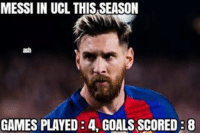 MESSI IN UCL THIS SEASON  ash  GAMES PLAYED 34 GOALS SCORED B8 Leo Messi