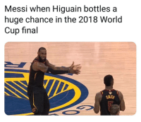 Memes, World Cup, and Messi: Messi when Higuain bottles a  huge chance in the 2018 World  Cup final  SMITH Messi shoulda be prepared for this to happen 👏😂🐐 Messi Higuain