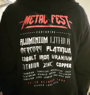 Funny, Metal, and Copper: METAL FES  ALUMINIUM LITH  COBALT IFon URANIUM  ITAMUM NC CopPER  PRLLRDİUM  MRNY MORE  ERDMİ&#.RNL The perfect hoody doesn't exis—
