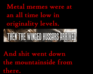 Then the Necro Meme Arrived: Metal memes were at  an all time low in  originality levels.  THEN THE WINGED HUSSARS ARRIYED  And shit went down  the mountainside from  there. Then the Necro Meme Arrived