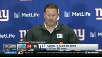 Ben McAdoo, Head, and Memes: MetLife  MetLife  letLife  Ben McAdoo Giants head coach  Giants: 4-12 on 3rd dowrn  24 10 n  >0-2 on 4th down  1141 LIVE20  HEADLINES  FINAL  0-2  Squad list  Cravens will not be permitted to return to the team dur  NETWORN Did BenMcAdoo throw EliManning under the bus or was he right here? 👀😬 (Via @sportsillustrated) @worldstar WSHH