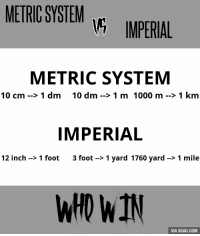 Feet In A Mile: METRIC SYSTEM  IMPERIAL  METRIC SYSTEM  10 cm 1 dm 10 dm 1 m 1000 m 1 km  IMPERIAL  12 inch 1 foot  3 foot 1 yard 1760 yard 1 mile  WHO WIN  VIA 9GAG.COM