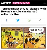 youtube.com, Metro, and Entertainment: METRO ENTERTAINMENT  YouTube insist they're 'pleased' with  Rewind's results despite its 9  million dislikes  THIS IS FINe.  Youtube