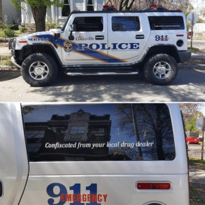 Drug Dealer, Police, and Savage: METRO  sville  POLICE  Confiscated from your local drug dealer  91  EMERGENCY Savage police. Civil forfeiture is big business for some police forces.