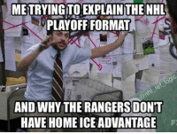 Memes, National Hockey League (NHL), and Wtf: METRYINGTONEXPLAINTHE NHL  PLAYOFF FORMAT  AND WHY THE RANGERS DONT  HAVE HOME ICEADVANTAGE Wtf is this playoff format @NHL? Poor Jackets and Canadiens getting screwed over by this garbage bracket