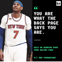 Sports, Narrate, and Mew: MEW YORK  br  YOU ARE  WHAT THE  BACK PAGE  SAYS YOU  ARE  MELO (ON HEARING BOOS  FROM KNICKS FANS  H/T OHM YOUNGMISUK Melo knows the narrative.
