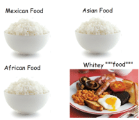 """Ugh. Why do white people have to be so uncultered: Mexican Food  African Food  Asian Food  Whitey """"""""""""food"""""""""""" Ugh. Why do white people have to be so uncultered"""