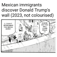 mexican immigrants: Mexican immigrants  discover Donald Trump's  wall (2023, not colourised)  L...I DON'T  REMEMBER  THIS BEING  HERE!!  WHERE  DID THIS  WALL  COME  FROM  OET  LAD