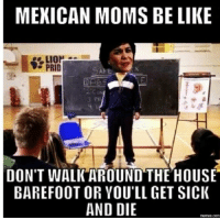 Lego Walk Of Fire: MEXICAN MOMS BE LIKE  PRID  DON'T WALK AROUND THE HOUSE  BAREFOOT OR YOU'LL GET SICK  AND DIE  memes.com