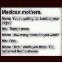 Follow---> All Mexicans: Mexican mothers.  Mom: You're getting fat. Look at your  lonjas!  Me: Thanks mom.  Mom: How many tacos do you want?  Me: One.  Mom: Here! I made you three. You  better eat them cabrona. Follow---> All Mexicans