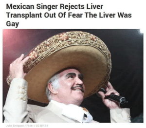 laughoutloud-club:  Mexican hero: Mexican Singer Rejects Liver  Transplant Out Oof Fear The Liver Was  Gay  Julio Enriquer/Flickr/CC BY 20 laughoutloud-club:  Mexican hero