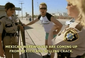 fakehistory:  Donald Trump on his campaign tour (2015): MEXICAN WEREWOLVES ARE COMING UP  FRO  XICO AND SELLING CRACK. fakehistory:  Donald Trump on his campaign tour (2015)