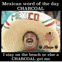 Mexican Word of the Day: Mexican word of the day  CHARCOAL  I stay on the beach or else a  CHARCOAL get me