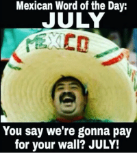 😂😂😂: Mexican Word of the Day:  JULY  You say we're gonna pay  for your wall? JULY! 😂😂😂