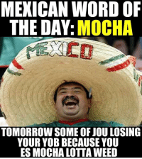 ANNNNNNND GOOD NIGHT: MEXICAN WORD OF  THE DAY  MOCHA  TOMORROW SOME OF JOU LOSING  YOUR YOB BECAUSE YOU  ES MOCHA LOTTA WEED ANNNNNNND GOOD NIGHT