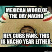 Cubs: MEXICAN WORD OF  THE DAY NACHO  HEY CUBS FANS THIS  ISNACHO YEAR EITHERL  kappit.com
