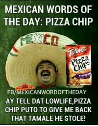 Mexican Word of the Day: MEXICAN WORDS OF  THE DAY: PIZZA CHIP  otnos  PEPPER  FB/MEXICAN WORDOFTHEDAY  AY TELL DAT LOWLIFE,PlZZA  CHIP PUTO TO GIVE ME BACK  THAT TAMALE HE STOLE!