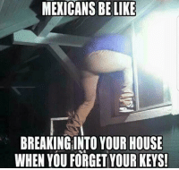 Be Like, Memes, and House: MEXICANS BE LIKE  BREAKINGINTO YOUR HOUSE  WHEN YOU FORGET YOUR KEYS Me, Saturday, 3:30am 😏 FOLLOW US➡️ @so.mexican