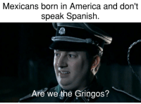 America, Spanish, and Mexican: Mexicans born in America and don't  speak Spanish  Are we the Gringos? Mexican Americans who dont speak Spanish.