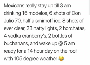 🤣🤣: Mexicans really stay up till 3 am  drinking 16 modelos, 6 shots of Don  Julio 70, half a smirnoff ice, 8 shots of  ever clear, 23 natty lights, 2 horchatas,  4 vodka cranberry's, 2 bottles of  buchanans, and wake up @ 5 am  ready for a 14 hour day on the roof  with 105 degree weather 🤣🤣