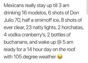 Me_irl: Mexicans really stay up till 3 am  drinking 16 modelos, 6 shots of Don  Julio 70, half a smirnoff ice, 8 shots of  ever clear, 23 natty lights, 2 horchatas,  4 vodka cranberry's, 2 bottles of  buchanans, and wake up @ 5 am  ready for a 14 hour day on the roof  with 105 degree weather Me_irl