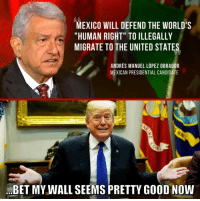 "Memes, Good, and Immigration: MEXICO WILL DEFEND THE WORLD'S  ""HUMAN RIGHT"" TO ILLEGALLY  MIGRATE TO THE UNITED STATES  ANDRES MANUEL LÓPEZ OBRADOR  MEXICAN PRESIDENTIAL CANDIDATE  BET MY WALL SEEMS PRETTY GOOD NOW Mexican presidential candidates are openly calling for mass illegal immigration into the US and even promising to provide resources to defend those who get caught!  BUILD THE WALL NOW!  #BuildTheWall #NoAmnesty"