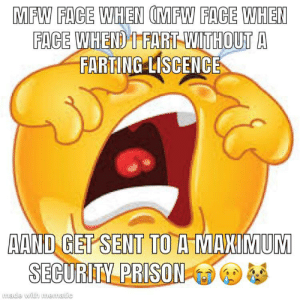 Bruh, Mfw, and Prison: MFW FACE WHEN (MFW FACE WHEN  FACE WHEND T FART WITHOUT A  FARTING LISCENCE  AAND GET SENT TO A MANIMUM  SECURITY PRISON  made with mematic why the fuckk would th*y do this to me azerbaijan bruh moment certified ✅ 😡😡😡😡😡
