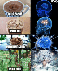 Dinosaur, Love, and Memes: MGAG  MILO PANAS  MILO AIS  MILO DINOSAUR  MILO KING The ultimate way of showing your love for Milo. Tag a friend who should be the Milo King!