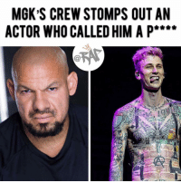 "Charlie, Diss, and Eminem: MGK S CREW STOMPS OUT AN  ACTOR WHO CALLED HIM A P**** On a Friday night in Atlanta, MGK and his entourage stomped on an actor named Gabriel ""G-Rod"" Rodriguez after walking up to MGK while recording and calling him a pussy because of the Eminem diss. There's a video going around where MGK appears to shove G-Rod and turn the phone away, the clip stops there. --------- ------------According to G-Rod, after the video was cut, MGK and his crew got tough and started challenging him, MGK even pushed him until the manager came and kicked G-Rod out the bar. 2 hours later after getting kicked out, G-rod saw MGK and his crew outside of Hampton Inn. G-rod claimed to have asked MGK and his bodyguards for a one on one but they just all ended up jumping him. G-Rod hired a lawyer and has a plan of suing but is willing to drop it if MGK hops in the octagon with him for a one on one. RapTVSTAFF: Charlie! @thatkidcm"