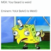 weird: MGK: Your beard is weird  Eminem: YoUr BeArD Is WelrD