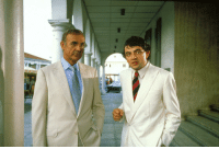 James Bond, Bahamas, and English: MI6 agent James Bond meets a young Johnny English in The Bahamas (colorized, 1983)