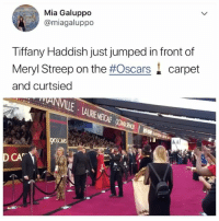 Check out the @buzzfeedobsessed stories for live coverage and more from the Oscars! 👈: Mia Galuppo  @miagaluppo  Tiffany Haddish just jumped in front of  Meryl Streep on the #Oscars. carpet  and curtsied  CA Check out the @buzzfeedobsessed stories for live coverage and more from the Oscars! 👈