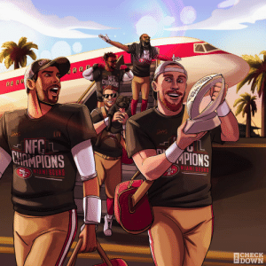Miami bound!  The @49ers are NFC Champions! #GoNiners #NFLPlayoffs  (via @thecheckdown) https://t.co/FsojMKTfeY: Miami bound!  The @49ers are NFC Champions! #GoNiners #NFLPlayoffs  (via @thecheckdown) https://t.co/FsojMKTfeY