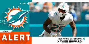 Memes, News, and Dolphins: MIAMI  Dalphins  NEWS  ALERT  DOLPHINS EXTENDING  XAVIEN HOWARD .@MiamiDolphins signing CB Xavien Howard to a five-year, $76.5M extension ($46M guaranteed), making him the NFL's highest-paid CB.  (via @RapSheet) https://t.co/QlueekSVNY