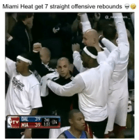 Memes, Miami Heat, and Heat: Miami Heat get 7 straight offensive rebounds  @_n  bameres  DAL 39 2ND  MIA 391-51 24  TV They got so many chances 💀😂👀 - Follow @_nbamemes._