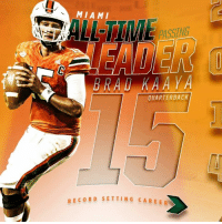 A truly astonishing feat. Brad Kaaya is now the all-time career yards passing leader. Here's a look at his stellar career at Miami.: MIAMI  PASSING  QUARTERBACK  RECORD SETTING CAREER A truly astonishing feat. Brad Kaaya is now the all-time career yards passing leader. Here's a look at his stellar career at Miami.