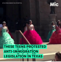 """""""This is our home, and we will not be disrespected in our own home."""" Not the usual Quinceanera party cry, but hey, that's the message these teens brought to the Texas Capitol steps. Decked out in beautiful Quinceanera formalwear, these teen activists protested anti-immigrant legislation signed by Gov. Greg Abbott. They are done living in a state that considers them aliens when Texas is their home. Feel empowered watching these girls not backing down. It's time for legislators to hear it! Repost @mic: Mic  ALYSSA HARAD VIA STORYFUL  THESE TEENS PROTESTED  ANTI-IMMIGRATION  LEGISLATION IN TEXAS """"This is our home, and we will not be disrespected in our own home."""" Not the usual Quinceanera party cry, but hey, that's the message these teens brought to the Texas Capitol steps. Decked out in beautiful Quinceanera formalwear, these teen activists protested anti-immigrant legislation signed by Gov. Greg Abbott. They are done living in a state that considers them aliens when Texas is their home. Feel empowered watching these girls not backing down. It's time for legislators to hear it! Repost @mic"""