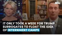 Memes, 🤖, and Camp: Mic  IT ONLY TOOK A WEEK FOR TRUMP  SURROGATES TO FLOAT THE IDEA  OF INTERNMENT CAMPS It only took a week for Trump surrogates to float the idea of internment camps. Where is this going?