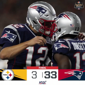 FINAL: @TomBrady's three TDs lead the @Patriots to an #SNF win! #PITvsNE #GoPats  (by @Lexus) https://t.co/WK6IJLr7y4: -MIC  SUNDAY  NICHT  FOOTBACL  13  MPIONS  DRSET  12 1  FINAL  3 33  Steelers FINAL: @TomBrady's three TDs lead the @Patriots to an #SNF win! #PITvsNE #GoPats  (by @Lexus) https://t.co/WK6IJLr7y4