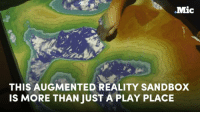 This is what happens when you use augmented reality on a simple sandbox.: Mic  THIS AUGMENTED REALITY SANDBOX  IS MORE THAN JUST A PLAY PLACE This is what happens when you use augmented reality on a simple sandbox.
