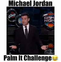 "Jordans, Memes, and Michael Jordan: Michae Jordan  JIMMY  GAM  NIGH  Palm It Challenges Michael Jordan Palm-It Challenge on Jimmy Kimmel🔥😂 - Comment ""Goat"" letter by letter without being interrupted! - Follow (me) @overtimeplayz for more! 📽: @boldmixes"