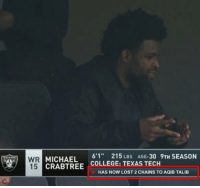 """College, Football, and Nfl: MICHAEL 6'1"""" 215 LBS  CRABTREE COLLEGE: TEXAS TECH  AGE:30 9TH SEASON  15  HAS NOW LOST 2 CHAINS TO AQIB TALIB These stats are getting out hand 😂 https://t.co/MGh7cwoKC3"""