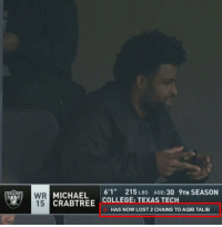 College, Lost, and Michael: MICHAEL 6215S AGE:30 9TH SEASON  CRABTREE COLLEGE: TEXAS TECH  15  HAS NOW LOST 2 CHAINS TO AQIB TALIB 💀💀💀 https://t.co/MMn0c3TMLu