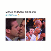 Memes, Link, and Michael: Michael and Oscar did it better  ttNBAFinals whatever you say 🐸 ☕️ link in bio to shop ❤️