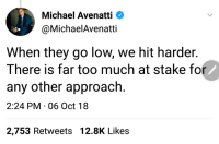 Too Much, Michael, and They: Michael Avenatti  @MichaelAvenatti  When they go low, we hit harder.  There is far too much at stake fo  any other approach.  2:24 PM 06 Oct 18  2,753 Retweets 12.8K Likes That aged well... #CreepyPornLawyer