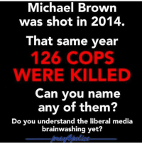 America, Feminism, and Friends: Michael Brown  was shot in 2014.  That same year  126 COPS  WERE KILLED  Can you name  any of them?  Do you understand the liberal media  brainwashing yet? :( @guns_are_fun_💐 - Follow my backup - 🇺🇸 @rwqalice🇺🇸 ✨Tags your friends ✨ - - ❤️🇺🇸🙏🏻 politicians racist gop conservative republican liberal democrat libertarian Trump christian feminism atheism Sanders Clinton America patriot muslim bible religion quran lgbt government BLM abortion traditional capitalism makeamericagreatagain maga president