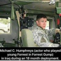 When running doesn't pay the bills so you gotta stack bodies 🇺🇸 https://t.co/puQGCKIdl0: Michael C. Humphreys (actor who played  young Forrest in Forrest Gump)  in Iraa during an 18 month deplovment When running doesn't pay the bills so you gotta stack bodies 🇺🇸 https://t.co/puQGCKIdl0