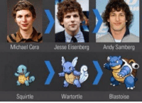 Michael Cera  Jesse Eisenberg  Andy Samberg  Wartortle  Squirtle  Blastoise why does this make sense?
