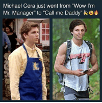 """Memes, Michael Cera, and Wow: Michael Cera just went from """"Wow I'm  Mr. Manager"""" to """"Call me Daddy""""ke Why he look like a custom 2k character on the right 💀"""